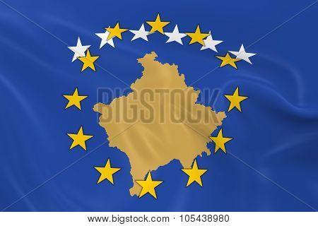 Kosovo Potential EU Member Concept Image - 3D render of a waving Kosovan Flag with European Union Stars poster