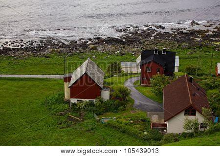 Red Houses On A Sea Coast