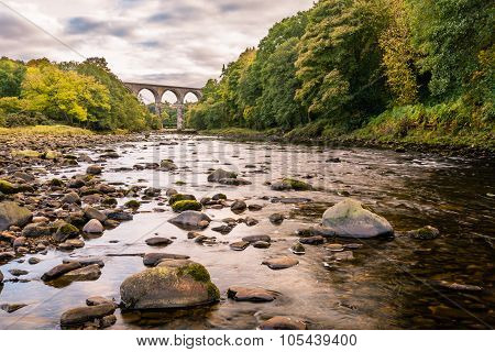 The Lambley Railway Viaduct was built in 1852 and towers over the River South Tyne in Northumberland. There are nine arches which support a deck 32 metres above the river poster