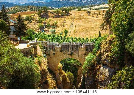 The Puente Viejo Old Bridge in Ronda, Province Of Malaga, Spain