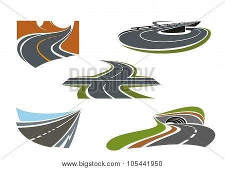 Modern highways, roads and freeways icons