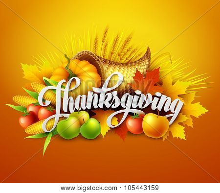 Illustration of a Thanksgiving cornucopia full of harvest fruits and vegetables.