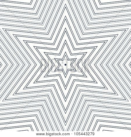 Illusive Vector Background With Black Chaotic Lines, Moire Style. Contrast Geometric Trance Pattern,