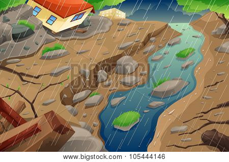 Monsoon Rain Resulting In Flood And Mudslide