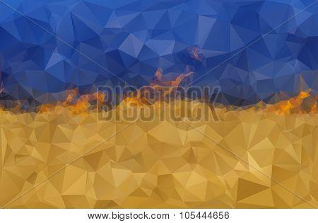 Stylized Ukrainian flag on fire