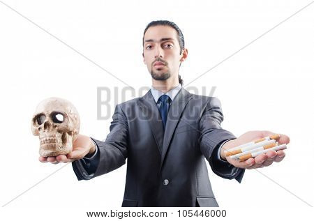 Man in antismoking concept isolated on white