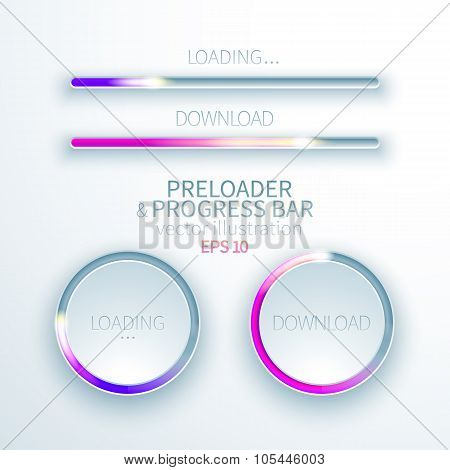 Icons preloaders and progress bars for loading items