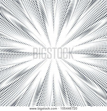 Moire pattern vector monochrome background with trance effect. Optical illusion creative black and white graphic backdrop. poster