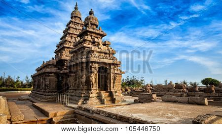 Panorama of famous Tamil Nadu landmark - Shore temple, world  heritage site in  Mahabalipuram, Tamil Nadu, India