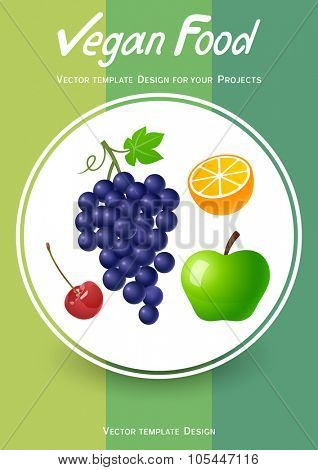 Brochure cover design with fruits icons. Vector illustration