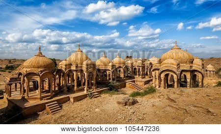 Panorama of Bada Bagh cenotaphs, Jodhpur, Rajasthan, India