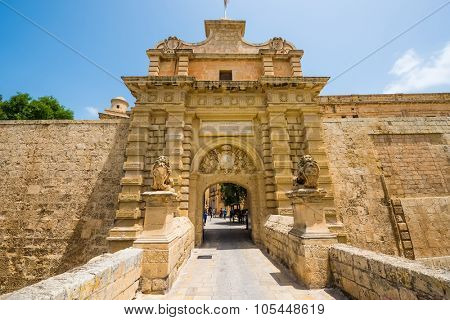Mdina, Malta - 26 May, 2015: gates to the city of Mdina in Malta