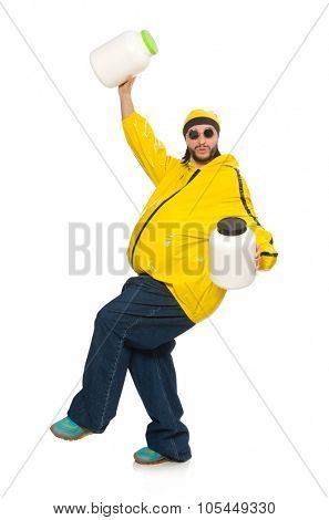 Overweight man isolated on the white poster