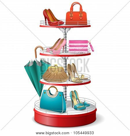 Vector Round Shelf With Female Accessories