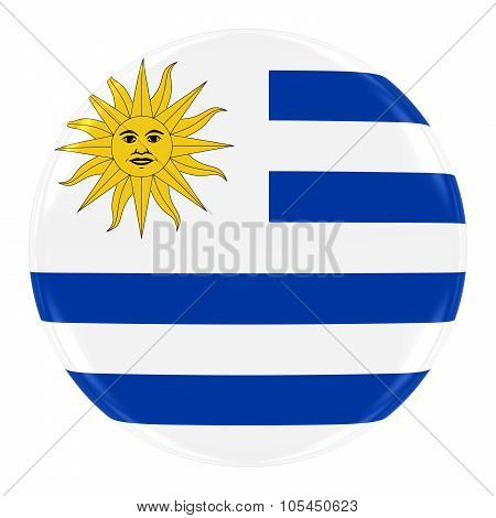 Uruguayan Flag Badge - Flag Of Uruguay Button Isolated On White