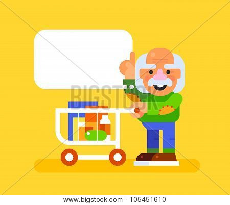 Elderly man with trolley at supermarket. Vector