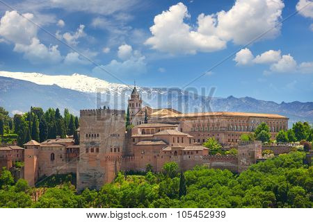 View of the famous Ancient Arabic fortress Alhambra, Granada, Spain, European travel