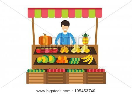 Fruit and vegetables shop stall. Shop man silhouette. Fruit stall with fruits and vegetables. Food shop vector illustration. Banana, apple, orange, lime, pumpkin fruits. Fruit kiosk vector