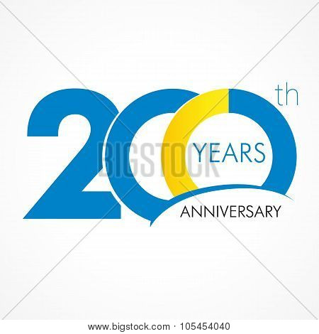 Anniversary 200 years old celebrating logo. Birthday greetings two hundred celebrates. 200 years old celebrating classic logotype. Simple traditional numbers of ages or thanks.