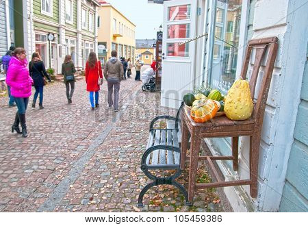 Porvoo. Finland. Tourists in Old Town