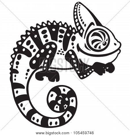 cartoon chameleon black and white