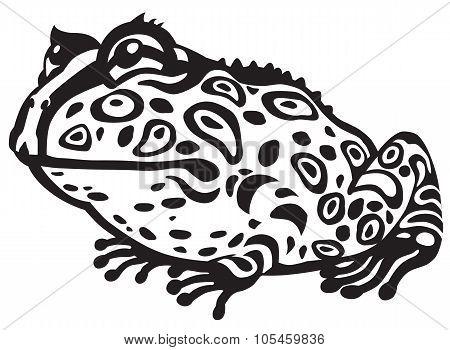 Pac-man horned frog black white