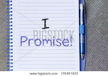 I promise text concept write on notebook poster