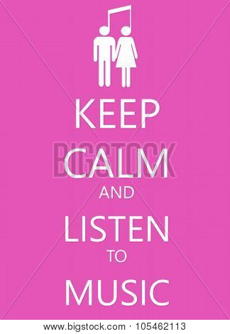 keep calm poster with music , man and woman