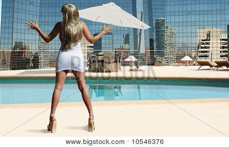 blond poolside