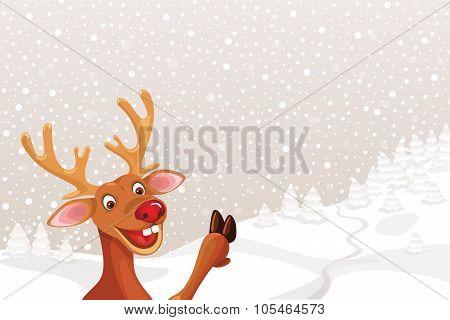Reindeer Rudolph on landscape snowflake background