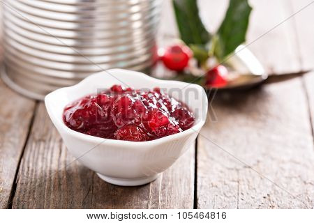 Storebought cranberry sauce in small dish