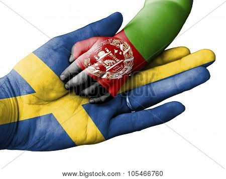 Adult Man Holding A Baby Hand With Sweden And Afghanistan Flags Overlaid. Isolated On White