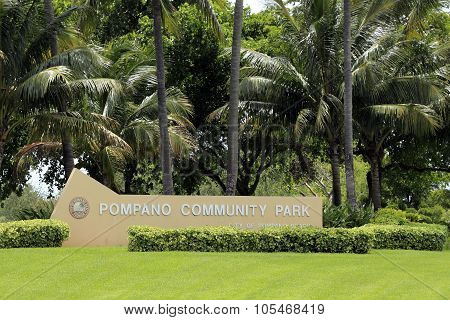 Cement Pompano Community Park Sign
