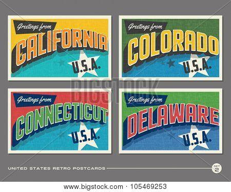 United States vintage typography postcards. California, Colorado, Connecticut, Delaware