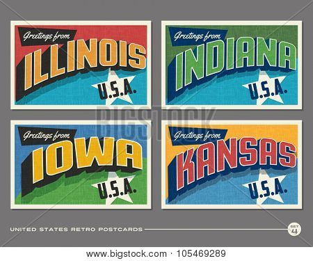 United States vintage typography postcards. Illinois, Indiana, Iowa, Kansas