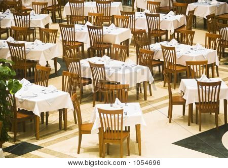 The Covered Tables In Restaurant
