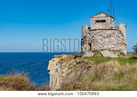 Ruined lighthouse on a cliffs of Paldiski. Pakri peninsula Baltic sea Estonia poster