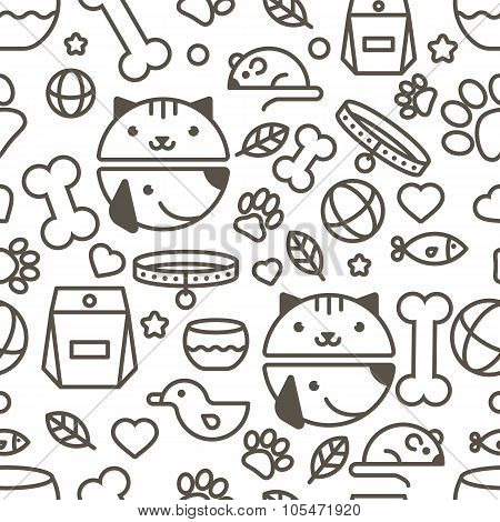 Vector Seamless Pattern With Linear Muzzle Of Cat And Dog, Goods For Animals.