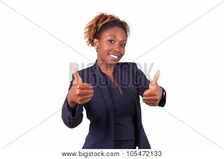 African American Business Woman Making Thumbs Up Gesture - Black People