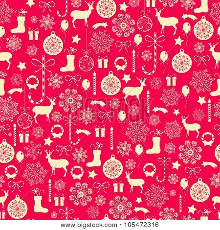 Seamless Christmas background with Christmas elements