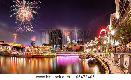 Fireworks Over Singapore River