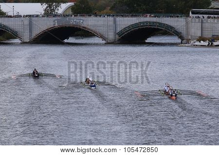 BOSTON - OCTOBER 18 2015: Marin(left) Saratoga(center)OKC Riversport(right) races in the Head of Charles Regatta Women's Youth Eights
