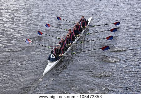 BOSTON - OCTOBER 18 2015: Marina Aquatic Center races in the Head of Charles Regatta Women's Youth Eights