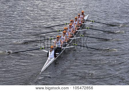 BOSTON - OCTOBER 18 2015: Oakland Strokes races in the Head of Charles Regatta Women's Youth Eights