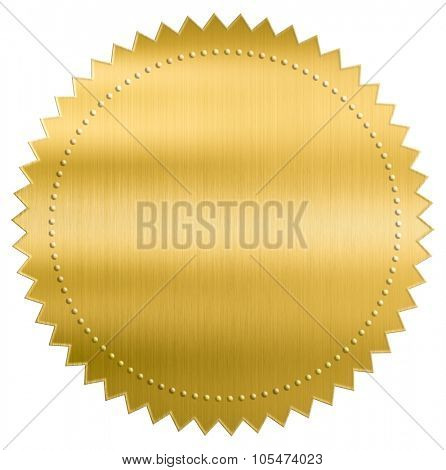 gold metallic foil seal label or sticker with clipping path included