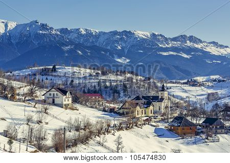 Wintry Rural Mountain Scenery