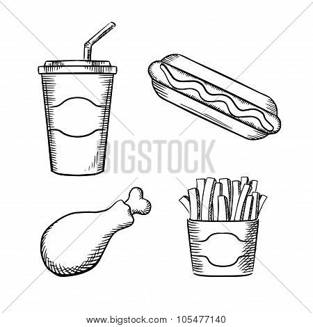 Fast food french fries in paper box, hot dog with ketchup, fried chicken leg and sweet soda in takeaway cup with drinking straw. Sketch images poster
