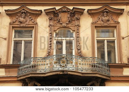 Classical Baroque Window In Prague, Czech Republic