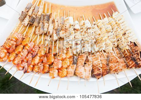 Shrimp And Salmon Canapes Dish On Banquet