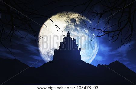 3D render of a Halloween background with a spooky castle against a moonlit sky - elements of this image furnished by NASA